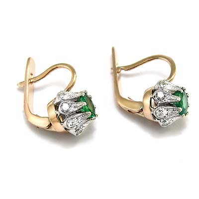 Russian Style Emerald Diamond Earrings 585