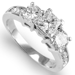 14k White Gold Princess Diamond Ring