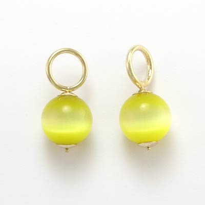 14k Gold Cat's Eye Charms