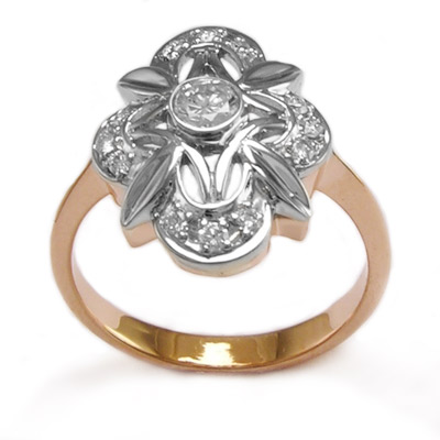 Russian Jewelry 585k Rose Gold Diamond Ring