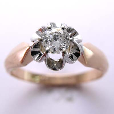 14k Gold Diamond Ring Russian Jewelry