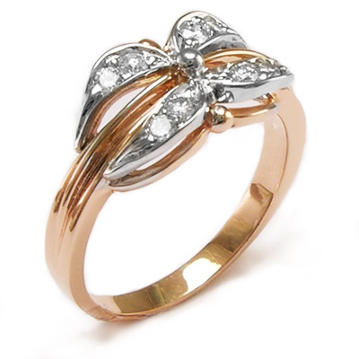 14K Rose & White Gold Diamond Ring Russian Jewelry
