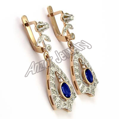 anzor jewelry   14k rose gold diamond sapphire russian