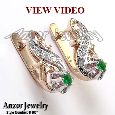 Anzor Jewelry 18k Rose and White Gold Diamond and Emerald Earrings
