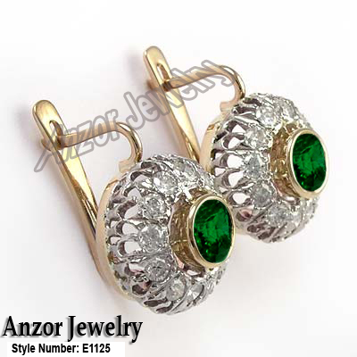14k Rose And White Gold Genuine Diamond Chrome Diopside Earrings