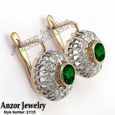 14k Rose And White Gold Genuine Diamond Chrome Diopside Earrings