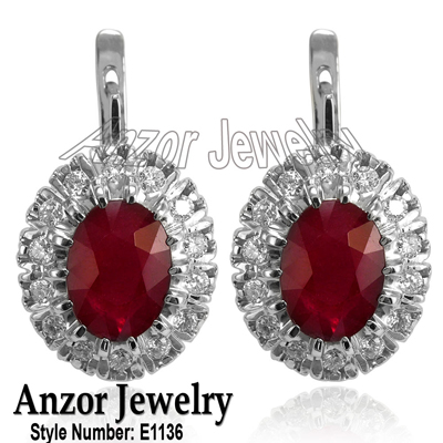 Russian Jewelry Ruby & Diamond Earrings 14K