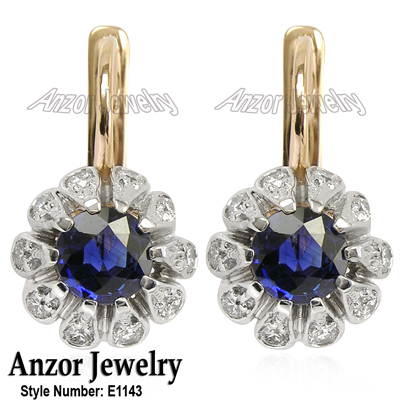 anzor jewelry   14k rose amp white gold genuine sapphire and