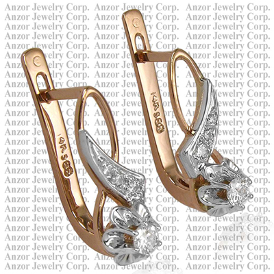 Old Russian style Diamond Earrings 585