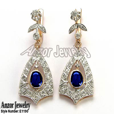 Russian Style Sapphire Diamond Earrings 14K 585