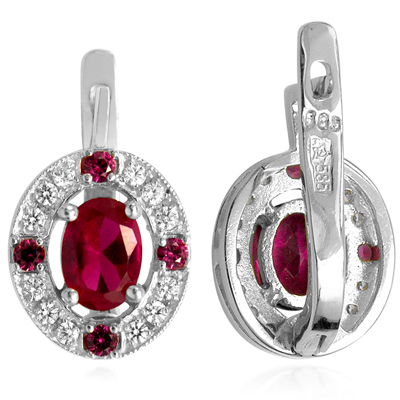 Russian Style Diamond Ruby Earrings 585