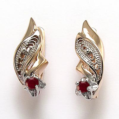 Russian Vintage Style Ruby Earrings 14k Rose Gold