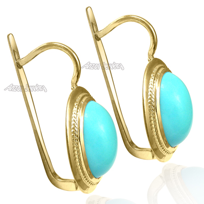 Anzor Jewelry 14k Solid Yellow Gold Turquoise Russian