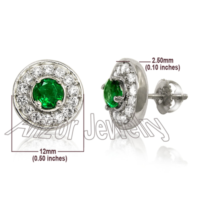 14k Gold Diamond and Emerald Earrings