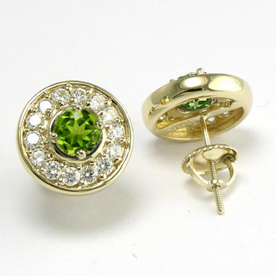 14k Gold Diamond and Peridot Stud Earrings