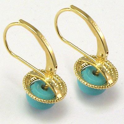 14k Gold Turquoise Leverback Locks Earrings