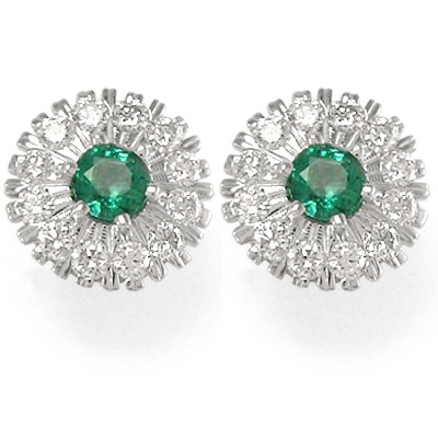 Russian Jewelry Diamond Emerald Earrings 18k Gold 2 0 Ct 1 0ct Each