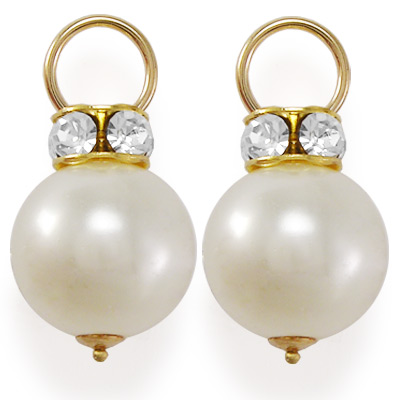 14k Gold White Pearl Swarovski Charms