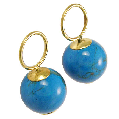 14k Gold Turquoise Charms 10mm