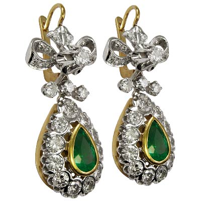 Diamond and Emerald Earrings 585 Russian Style