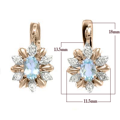 14k Russian Style Earrings Diamond and Aquamarine