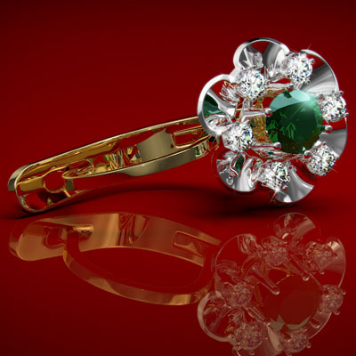 Russian style Earrings Emerald and Diamond 14k 585