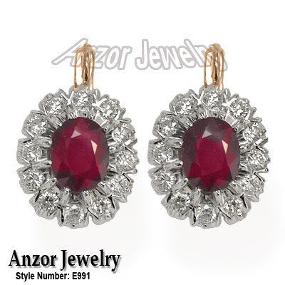 Russian Style Earrings Ruby and Diamond 14K 585