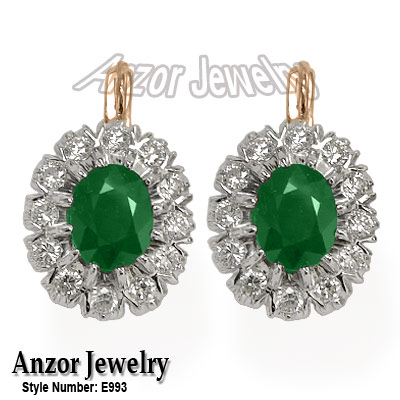 Russian Jewelry Emerald & Diamond Earrings 14K
