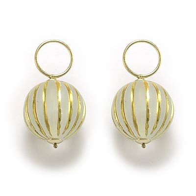 14k Yellow Gold Striped Earring Charms