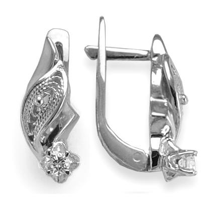 14k White Gold Diamond Earrings Russian Jewelry