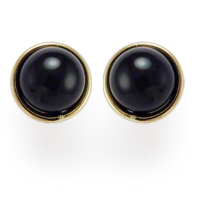 14k Gold Black Onyx Studs 7mm