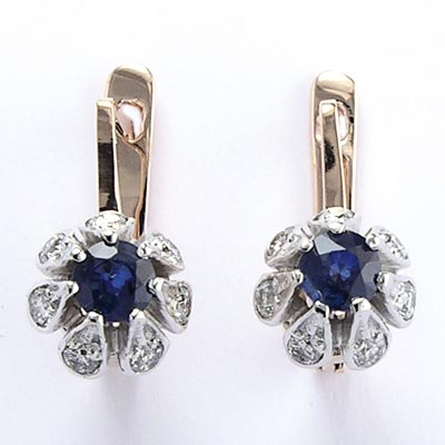 Russian Style Sapphire and Diamond Earrings 585