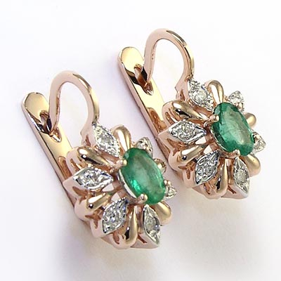 14k Rose And White Gold Diamond Emerald Russian Style Earrings