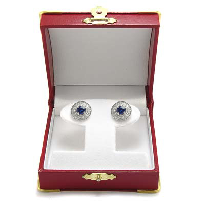Sapphire Diamond  Stud Earrings in 14k Gold