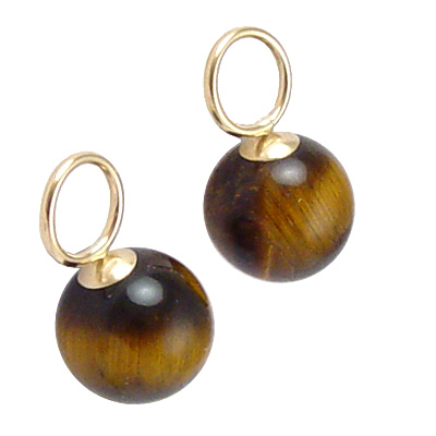 14k Gold Tiger Eye Stone Charms 10mm