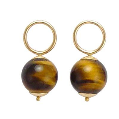 14k Gold Tiger Eye Stone Charms 8mm