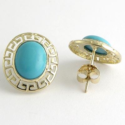 Anzor Jewelry 14k Gold Oval Turquoise Greek Key Earrings