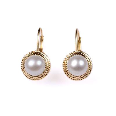 14k Yellow Gold Pearl Earrings