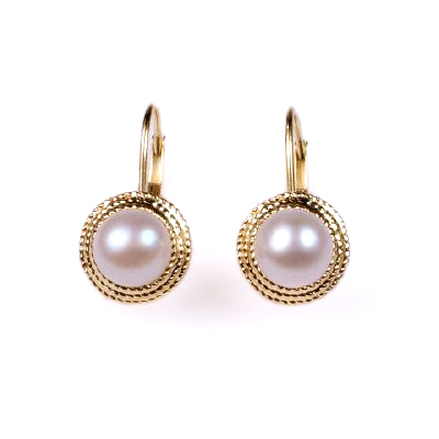 14k Gold 6mm Pink Pearl lever-back Errings
