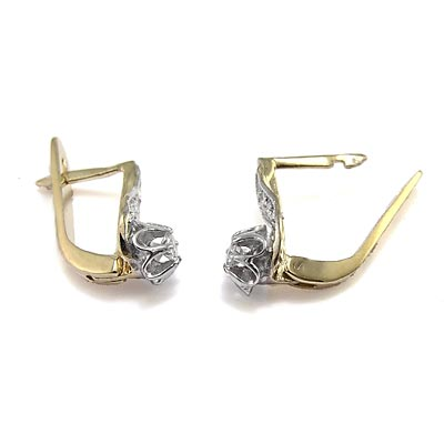 Russian Style Diamond Earrings 14k Gold