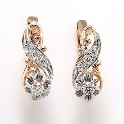 14k Rose And White Gold 44 Cwt Diamond Earrings Russian Jewelry