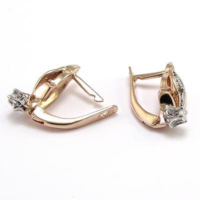 Russian Style Jewelry 18k Rose White Gold Genuine Diamond Earrings E950 Ebay