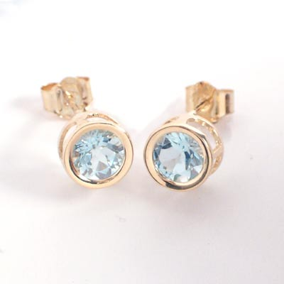 14k Gold Aquamarine Studs 1 5ct