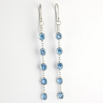 14k Topaz Dangling Earrings