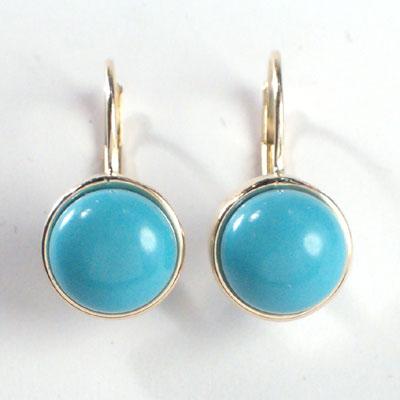 14k Gold Turquoise Earrings 8mm