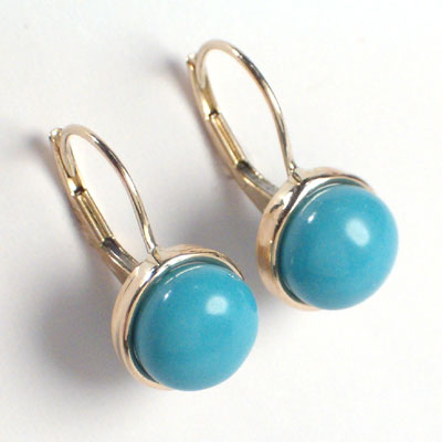 14k Gold Turquoise Earrings 8mm
