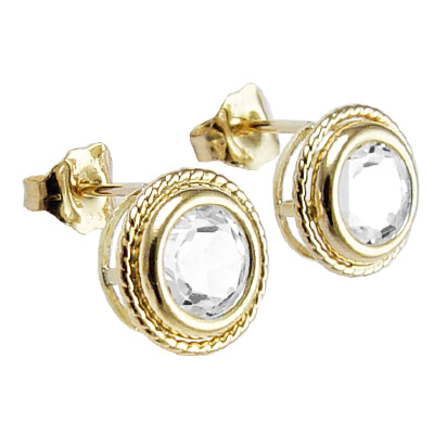14k Yellow Gold white Topaz Stud Earrings
