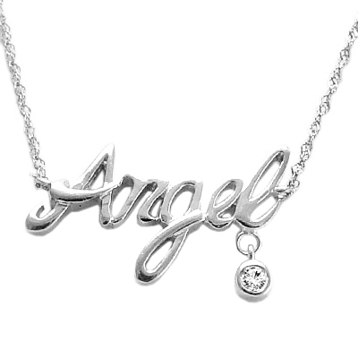 Angel Name Diamodn Necklace  in 10k Gold