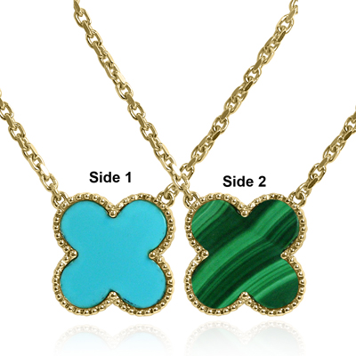 14k Gold Turquoise & Malachite Two Sides Necklace