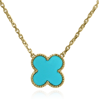14k Gold Genuine Turquoise Necklace